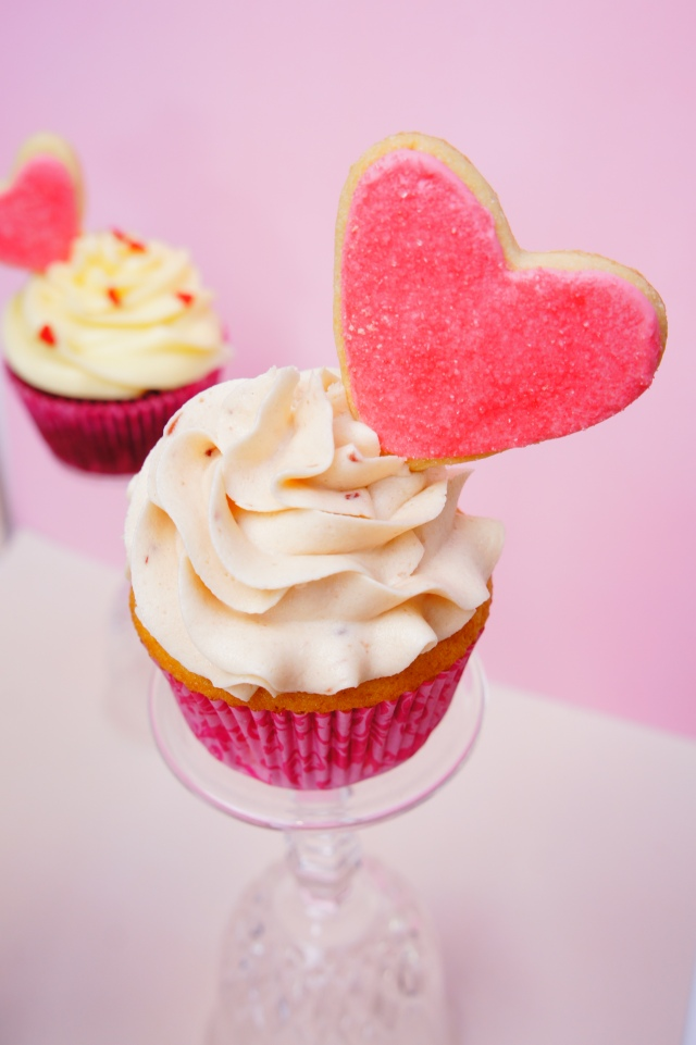 Vanilla Cupcake with Strawberry Frosting