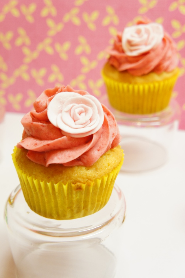Vanilla Cupcakes with Raspberry Buttercream