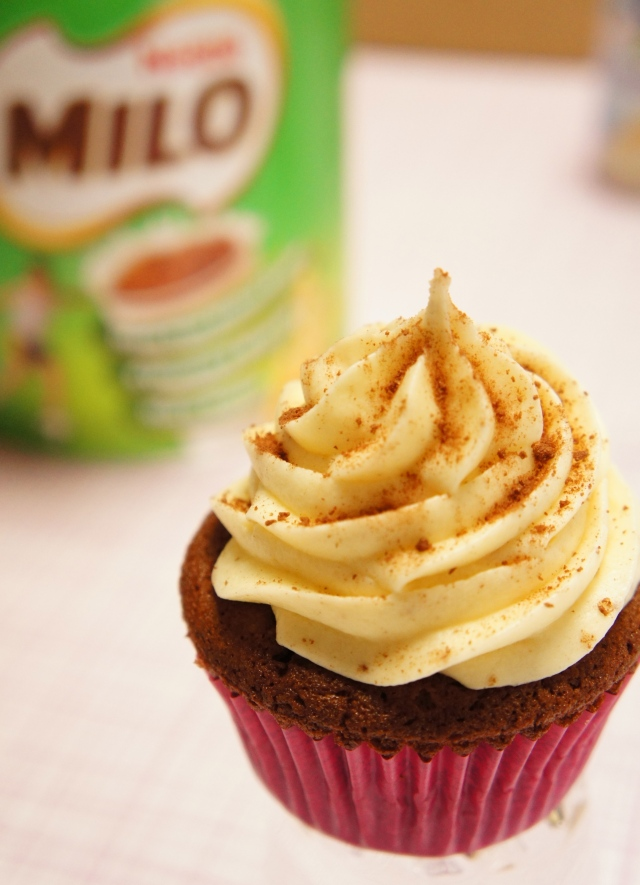 Milo Cupcake with Condensed Milk Frosting
